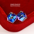 Shiny White Gold Plated Blue Austrian Crystal Cube Stud Earrings For Women Small Geometric Suqare Ear Jewelry Brincos Es510