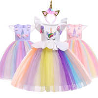 Multicolour Girls Cosplay Unicorn Dress Flying Sleeve Princess Girl Birthday Party Dresses Child Kids Halloween Unicorn Costume