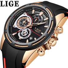 купить LIGE New Mens Watches Silicone Strap Watch Men Top Brand Luxury Waterproof Sport Chronograph Quartz Wristwatch reloj hombre+Box по цене 1562.5 рублей