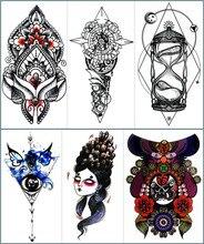 Arte provisória do corpo da tatuagem da máscara do funil do nu-taty, etiquetas flash da tatuagem de 11.5*21cm, henna falsificada impermeável do tatoo