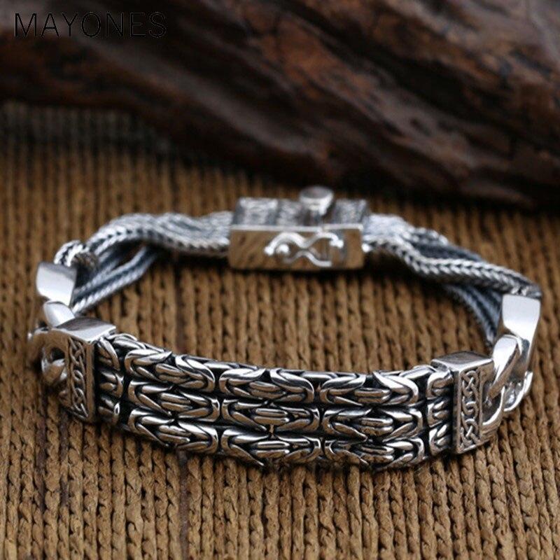 925 Браслеты стерлингового серебра для Для мужчин Для женщин Винтаж S925 твердый тайский серебряный цепи браслеты, бижутерия, подарок на день р...