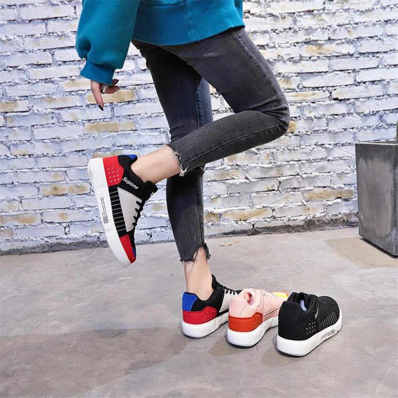 Nowe modne trampki kobiety Tenis Sport buty w stylu casual kobieta skórzane dzikie platformy obcas Retro kobiet rozrywka koronki białe buty