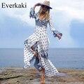 Everkaki 2017 New sexy summer dresses Boho Bohemian floral print long Beach dress V Neck Bandage High waist maxi dress vestidos
