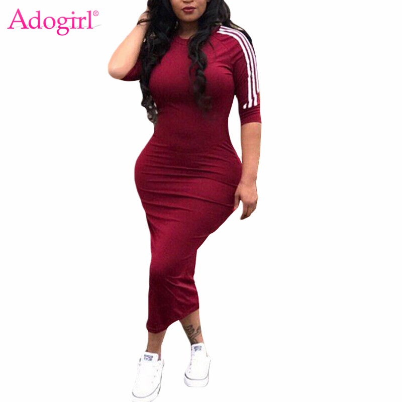 Adogirl Brad Dress for Women White Striped Half Sleeve Bodycon Midi Casual Summer Dresses 6 Colors S-3XL Club Party Vestidos ...