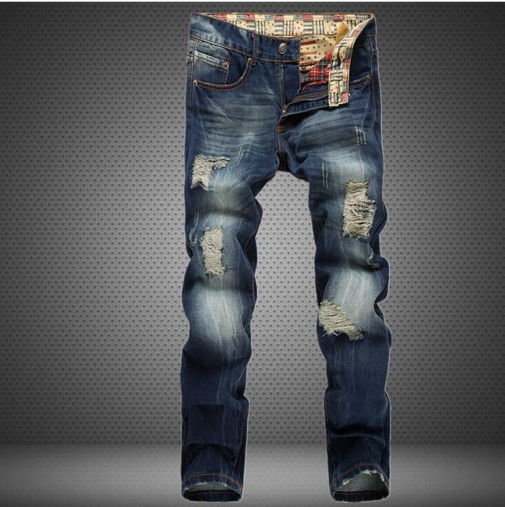 #2706 2017 Ripped jeans men Fashion Straight Slim fit Mens skinny jeans Distressed Mens biker jeans Denim pants Pantalon homme