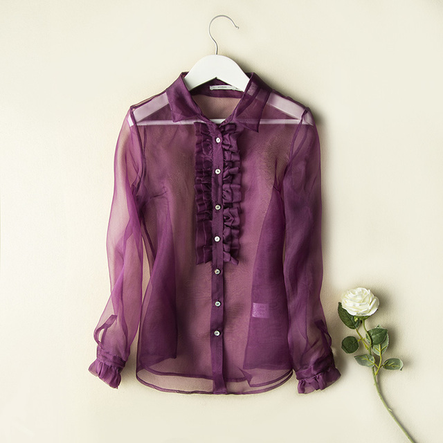 Women silk blouse 100% REAL silk blouse Solid Long sleeved Organza Transparent button shirt  2016 Fall Black Purple