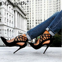 Hot Sexy Fashion Woman Pointed Toe Cut Outs Stilettos High Heels Sandals Shoes Zipper Rome Scarpe
