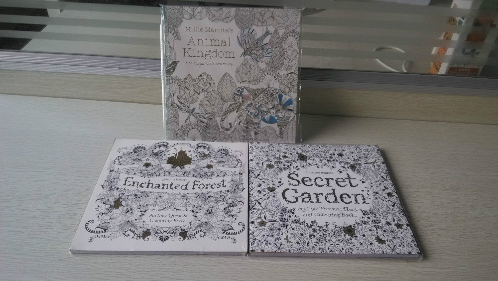 3 BOOKS LOT English Edition Secret Garden Coloring Book Animal Kingdom Enchanted Forest 96 PAGES