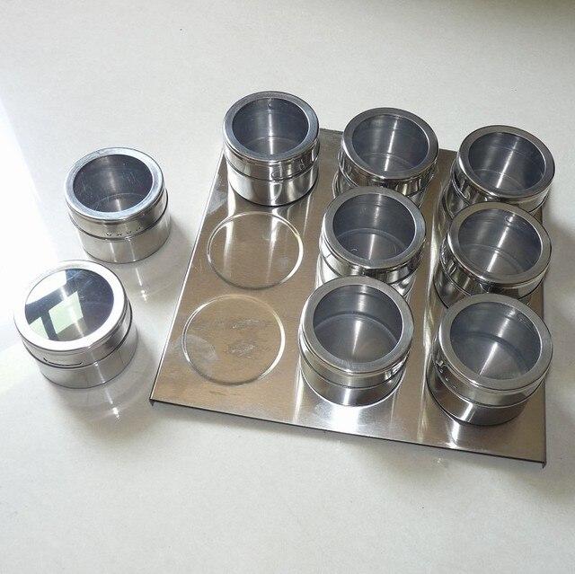 9 unids frascos de especias magnético vinagrera condimentos especias botella de la salsa del envase del condimento del acero inoxidable Herramientas