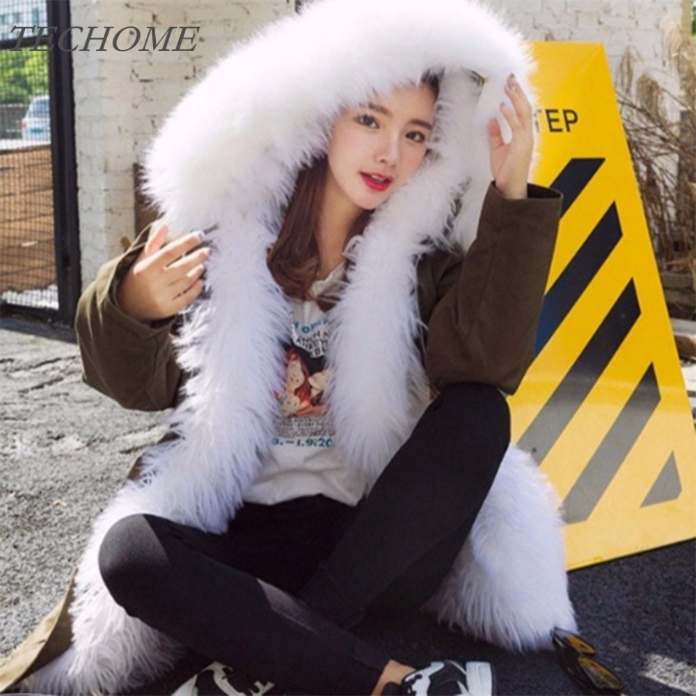 2018 Women Winter Thicken Wool Liner Faux Fur Coats Large White Fur Collar Hoodies Parkas Slim Warm Jacket Outerwear Luxury Coat 2015 new hot winter thicken warm woman down jacket coat parkas outerwear rabbit fur collar luxury slim long plus size xl high