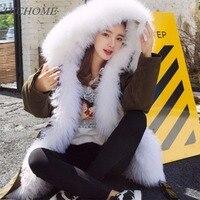 2018 mujeres de invierno espesar lana liner Cuero no original Abrigos blanco grande Pieles de animales collar Sudaderas Parkas Delgado chaqueta caliente abrigo de lujo