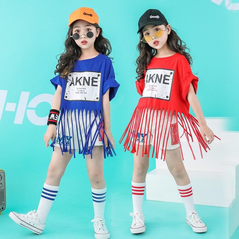 New Children Street Dance Set Girls Hip Hop Clothes Jazz Catwalk Dance Costumes Performance Tassel Cheerleader Clothing MAY1052