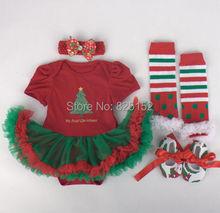 Милые Новорожденный Малыш Младенец Девочка Повязка + Ползунки + Гетры + Обувь Рождество Санта Костюм Устанавливает Детские Пользовательские Модная одежда