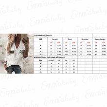 2018 New Women White Blouse Long Sleeve Button-Down Low Cut