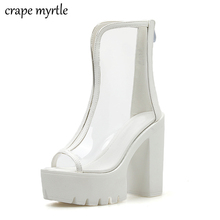 transparent sandals white shoes summer High Heels Transparent Ankle Boots For womens fashion YMA815