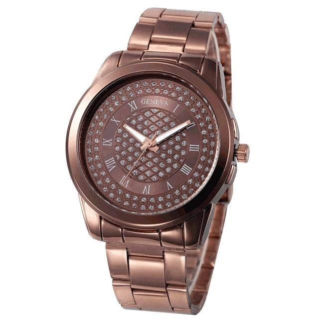 Geneva Watch Women dress watch Laides quartz wristwatches Stainless Steel Silver