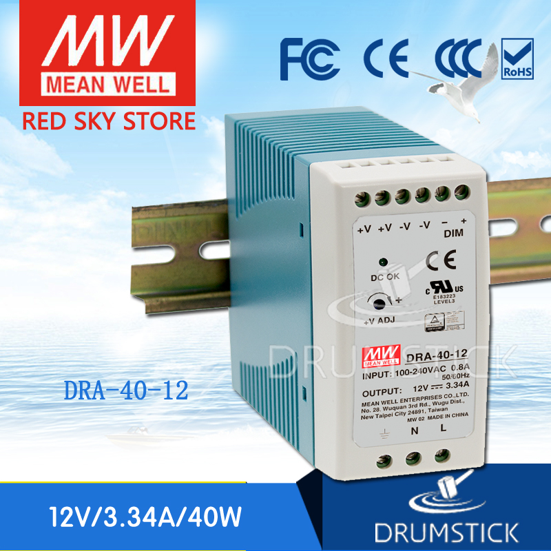 Hot sale MEAN WELL DRA-40-12 12V 3.34A meanwell DRA-40 12V 40.08W Single Output Switching Power Supply ванна victoria albert drayton dra n sw of ft dra sw