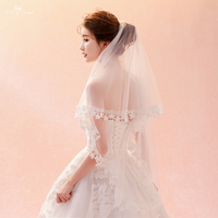 LZP351 Real Bridal Accessories Wedding Veil 1.5 Meters Plum Blossom Ear Design Lace Bridal Veil Ivory Blusher Veil