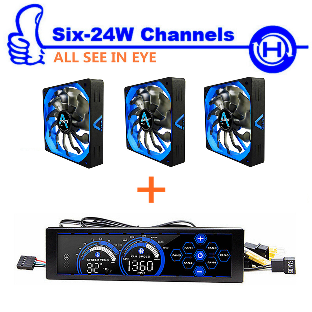 ФОТО ALSEYE Computer fan controller and PWM 120mm fan for cpu cooler 3/4pin 12v 2000RPM radiator and cooling fan speed controller