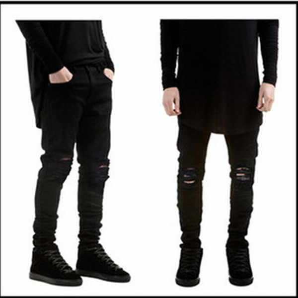 bf5b45c5a18 Wholesale 2019 Fashion black skinny jeans men hip hop streetwear pantalon  homme distressed knee Ripped hole