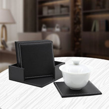 6pcs Leather Coaster Set Heat-resistance Cup Mat Pads Coffee Mug Drink Coasters Placemat Table Mat Cup Holder Square Round Decor