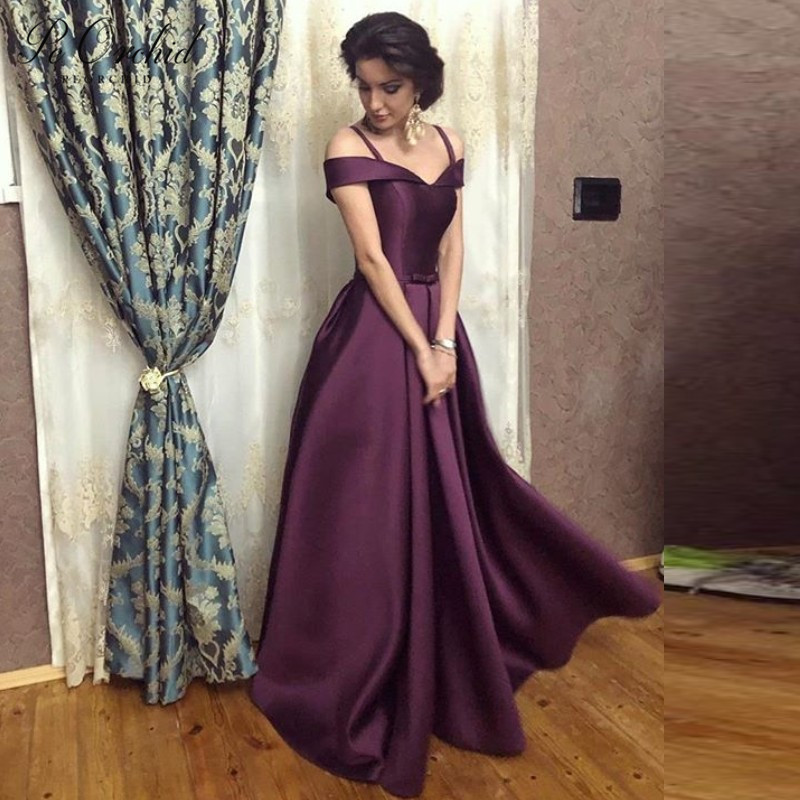 PEORCHID Simple Satin Off The Shoulder   Prom     Dresses   In Purple Floor-length A line Evening Formal Gown Vestido Gala Mujer 2019