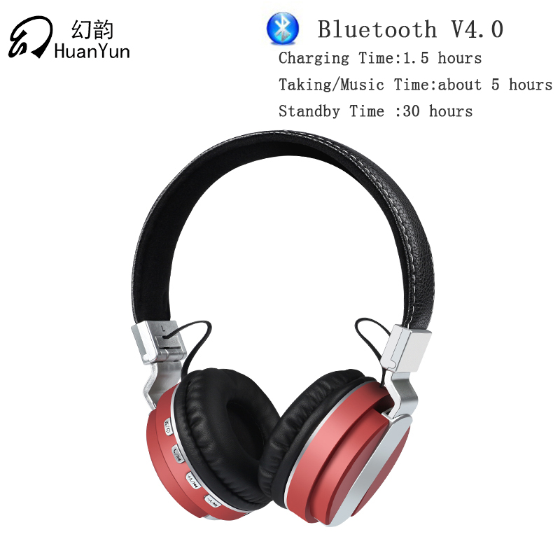 Huan Yun Earphone Headphones Bluetooth Wireless Headset Stereo Bass with Mic SD Card Slot Foldable For Phone Tablet TV BT008 rock y10 stereo headphone earphone microphone stereo bass wired headset for music computer game with mic