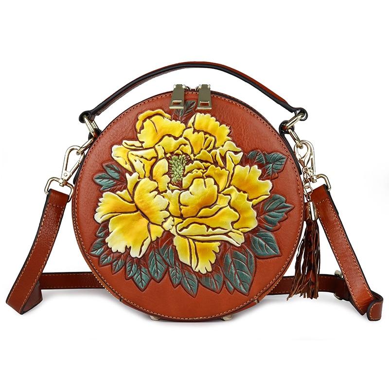 Senhora circular saco genuína flor de couro festa à noite sacos de mão mulher de negócios de moda casual ombro do vintage pequeno saco rodada - 2