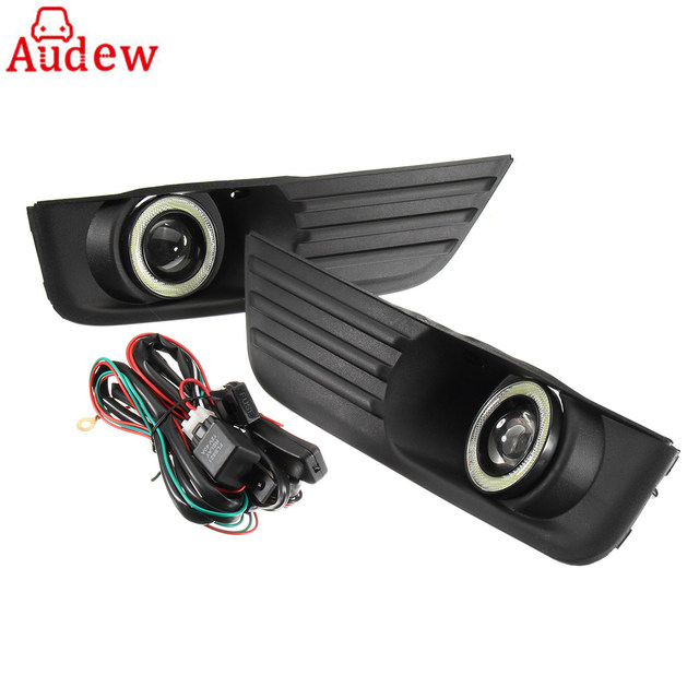 2Pcs Car Grille Fog Lights With Angels Eyes Daytime Lamp With Wire ...