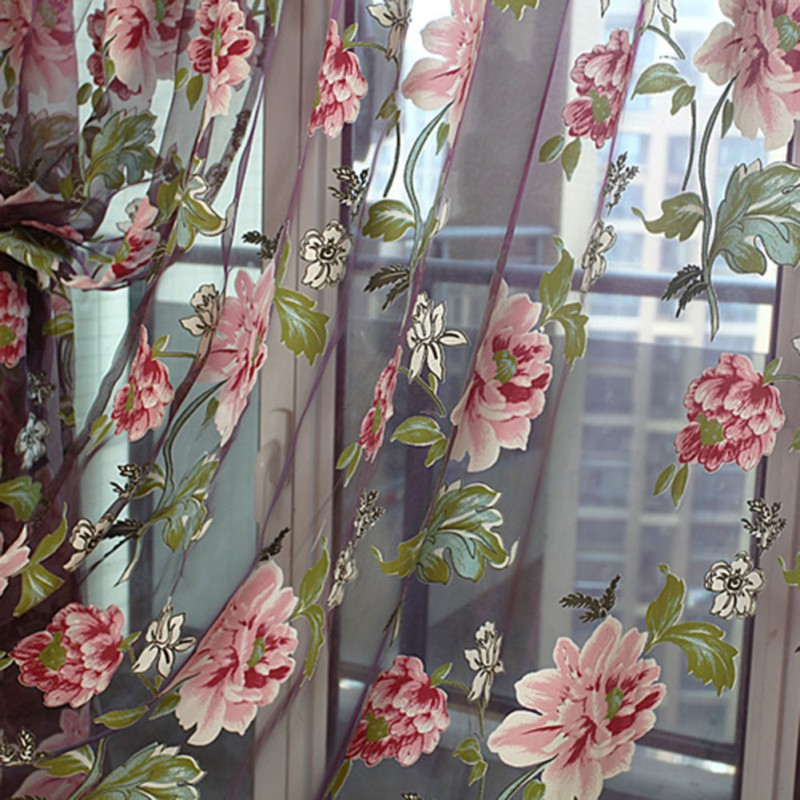 4 Color Elegant Floral Tulle Curtains For Living Room Voile Window Curtain  Panel Sheer Drape Scarf Valances Rideaux Pour L In Curtains From Home U0026  Garden On ...