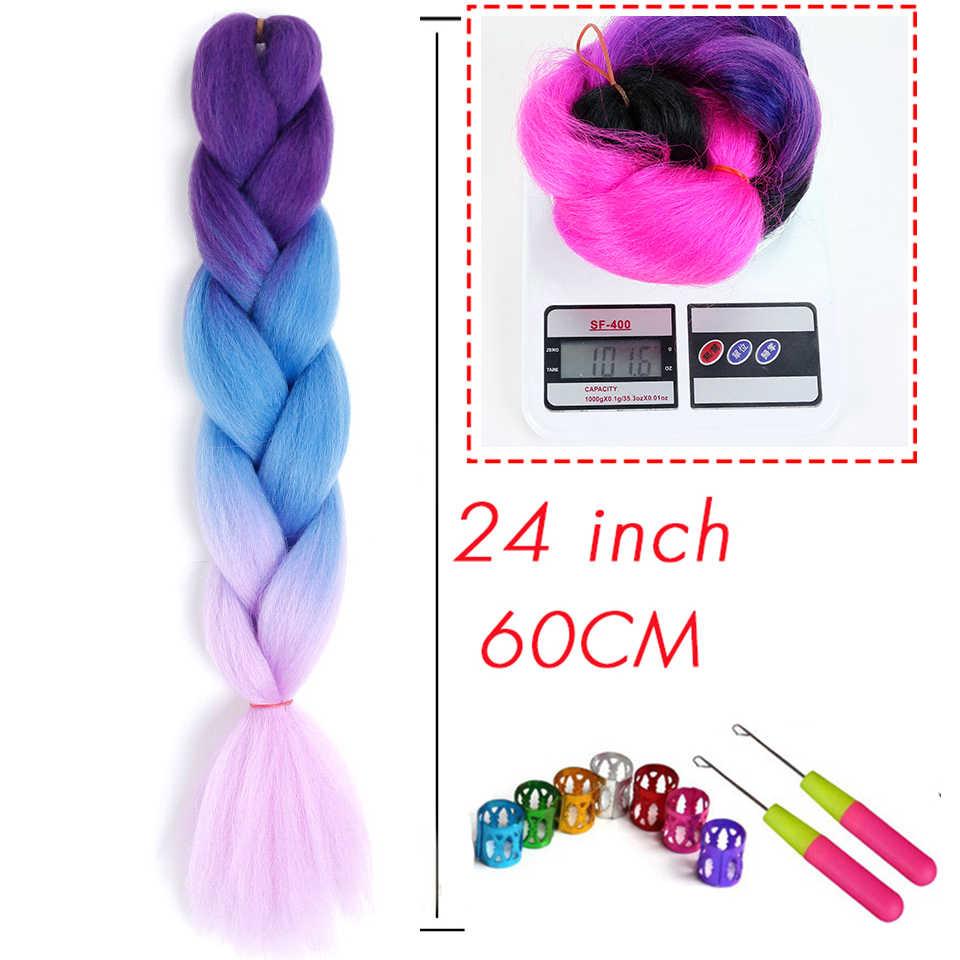 """MSTN 24 """"100 г вязаные волосы синтетические жгуты для вплетания градиент мешочки нарощенные волосы"""