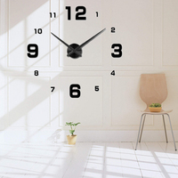 Freeshipping 2016 New Home Decoration Big Mirror Wall Clock Modern Design 3D DIY Large Decorative Wall