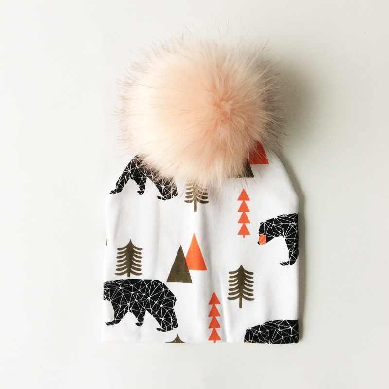 หมวกเด็กผ้าฝ้ายพิมพ์ Pompom หมวกสำหรับชายหญิงฤดูหนาวหมวกเด็กแฟชั่นหมวกเด็ก