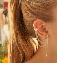 Women Metal Ear Clip Single Leaf Tassel Earrings Cuff
