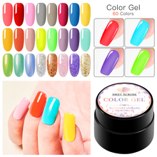 MEET ACROSS 5ml Glitter Nail Gel Shiny Uv Polish Pearl Rainbow Color Soak Off UV LED Art Lacquer