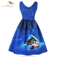 SISHION Winter Snow Snowman Print Christmas Dress Sexy Sleeveless Women Blue Red Plus Size Casual New Year Party Dress VD0643