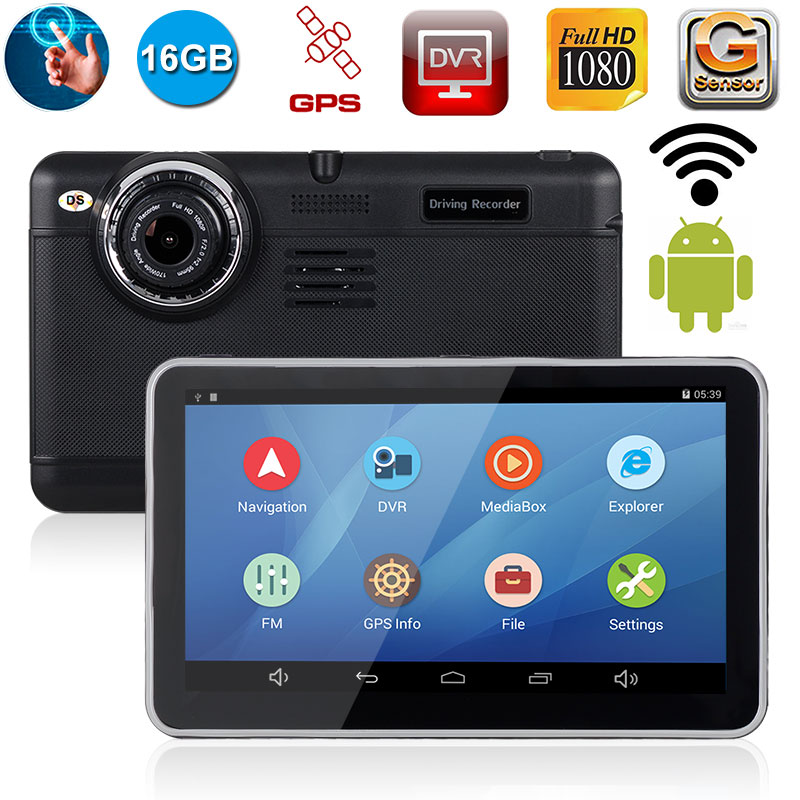 XGODY 7 Mirror Rearview Camera Car DVR DVRs Android 4.4 With GPS Navigation Video Recorder Dash Cam Wifi 2017 EU/AU Map e ace car dvr android touch gps navigation rearview mirror bluetooth fm dual lens wifi dash cam full hd 1080p video recorder