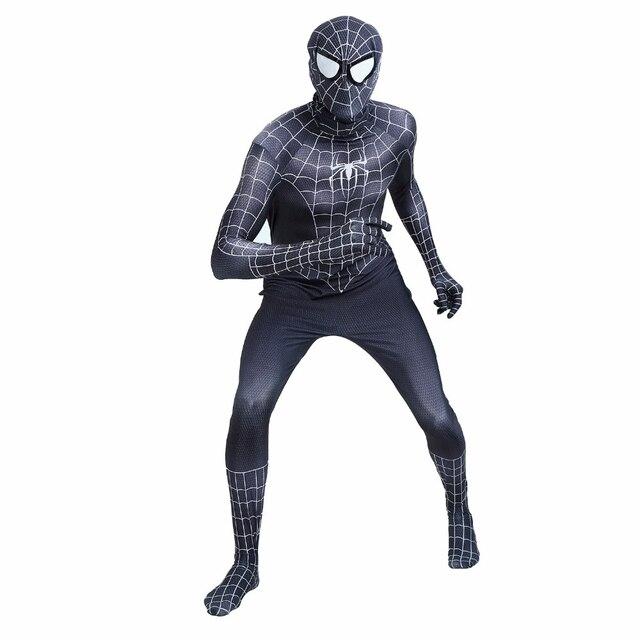 Film Spider Man Homecoming Adulte Cosplay Costumes Spiderman Noir Salopette Spandex  Lycra Serré Body Halloween Party 00fff3cb4a7