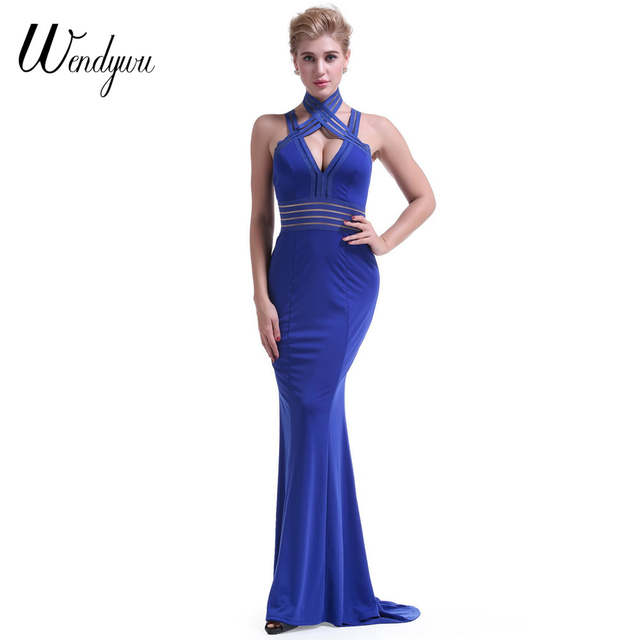 c468e2641b US $21.22 15% OFF|Wendywu New Sexy Cleavage Backless Spaghetti Strap Prom  Mermaid Long Dress Solid Blue Party Gowns-in Dresses from Women's Clothing  ...