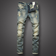 European Classic Retro Men Jeans High Quality Slim Fit Ripped Jeans For Men Casual Pants Youth Denim Street Fashion Biker Jeans купить недорого в Москве