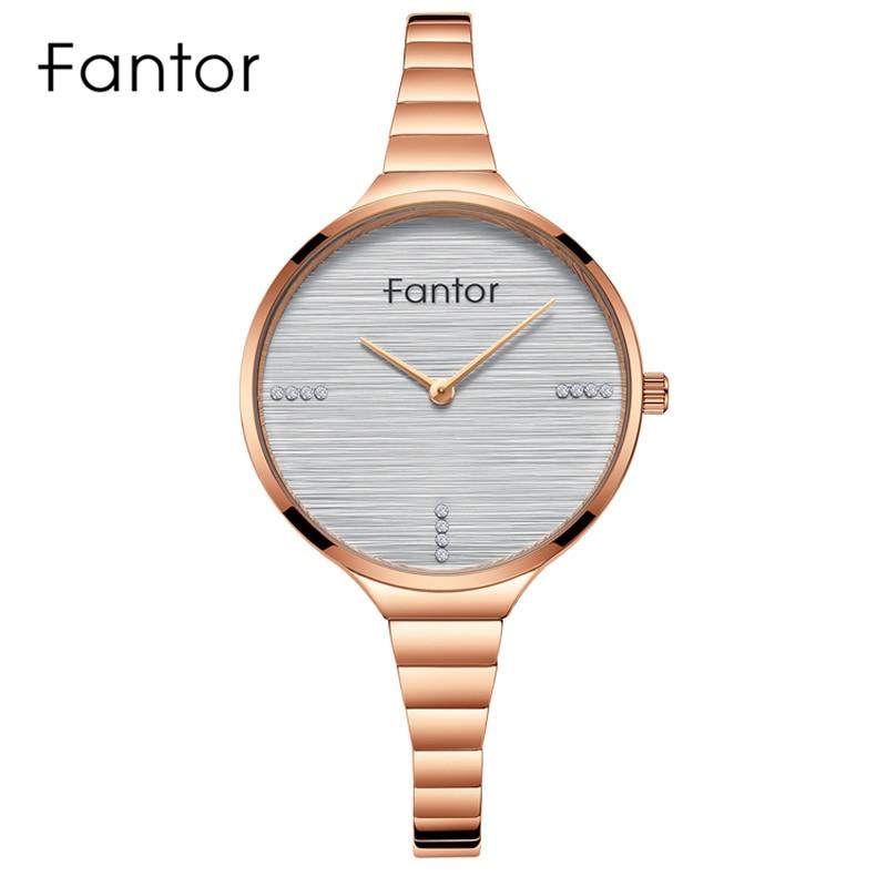 Fantor Top Brand Luxury Women Bracelet Watch Ladies Small Wristwatch Quartz Waterproof Rose Gold Steel Watches for Woman Clock(China)