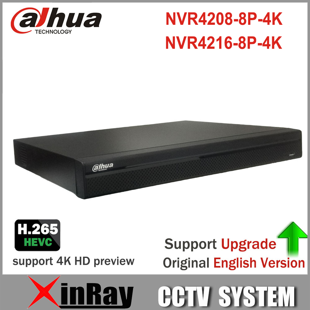 Dahua 4K NVR NVR4208-8P-4K NVR4216-8P-4K With 8PoE Port Support 4K H.265 IP Camera for Professiona Security Systerm