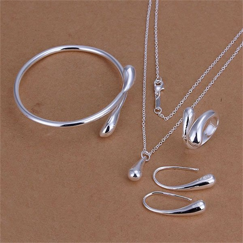 Factory Price Top Jewelry Silver Plated Drop Jewelry Sets Necklace Bracelet Bangle Earring Ring Women Jewelry Set