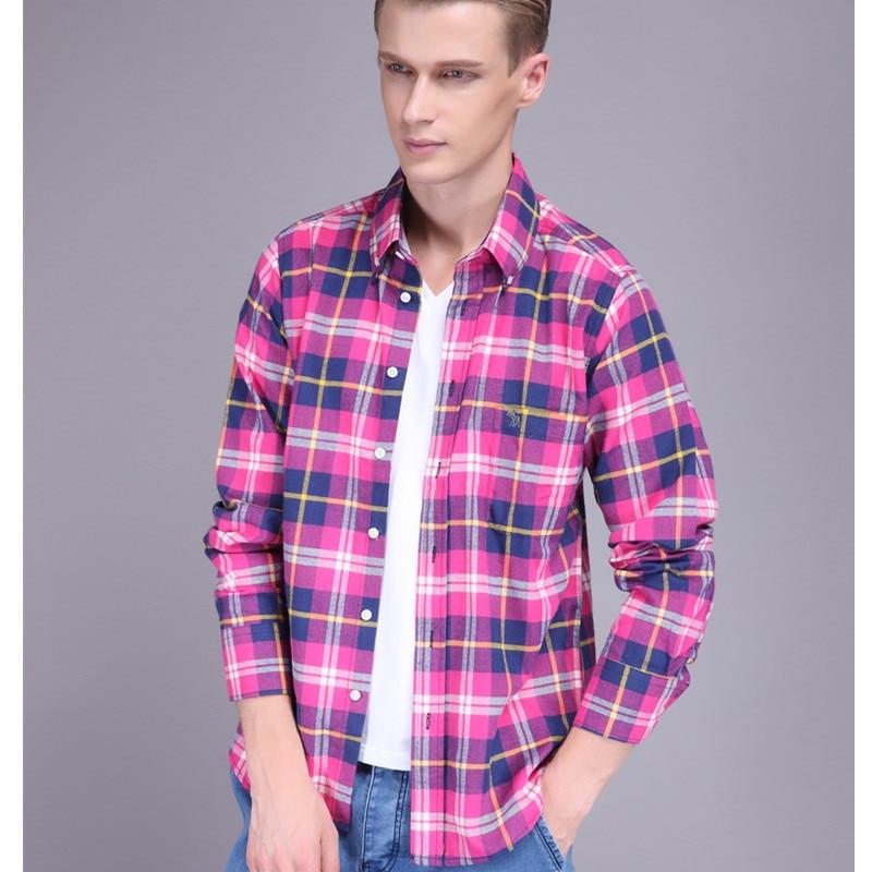 Plaid Shirt For Men Slim Casual Fall 2015 Cotton Long Sleeve Shirt ...