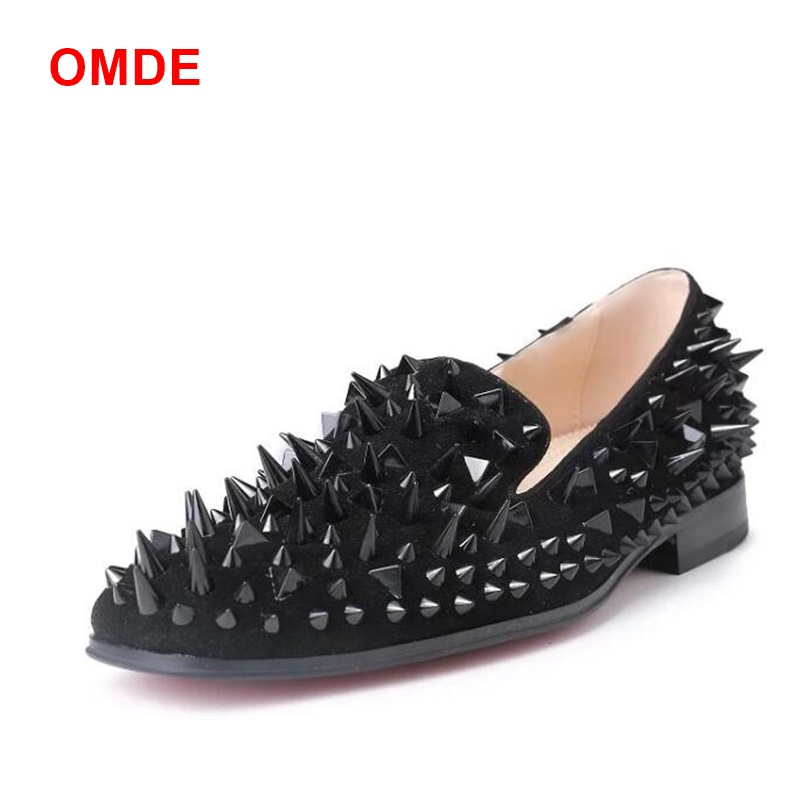OMDE New Arrive Black Men Suede Shoes Fashion Spikes Loafers Slip On Mens Dress Shoes Breathable Men's Party And Prom Shoes hot sales new fashion dandelion spikes mens loafers high quality suede black slip on sliver rivet flats shoes mens casual shoes