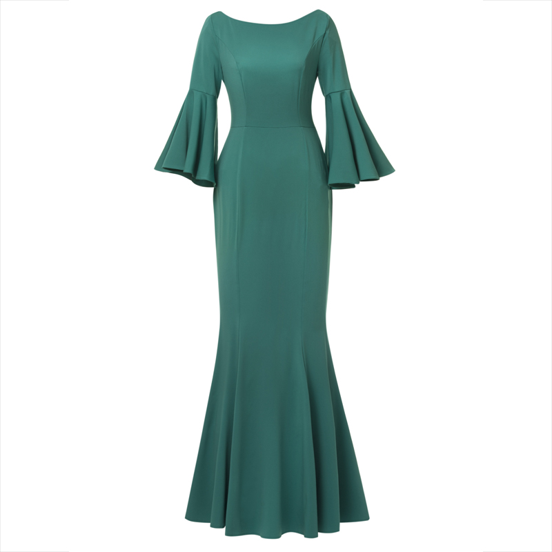 Women Mermaid Dresses Sexy Long Evening Party Dress Lady Flare Sleeve Button Backless Trumpet Maxi Elegant Floor-Length Dresses