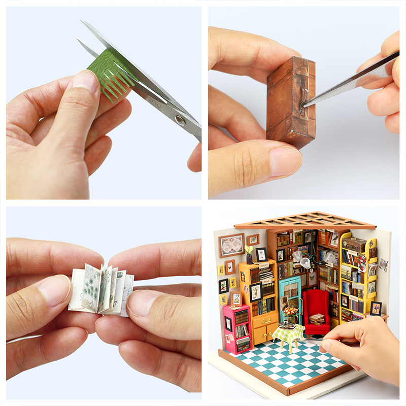 Robotime-3D-Puzzle-DIY-New-Arrival-Wooden-Decor-Collection-Wooden-House-Toys-Creative-Gift-Sams-bookstore-With-LED-Light-DG102-2