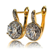 Smart Chic White Zircon Earring Gold Plated Lady Small Hoops Earrings  for Women Jewelry Brinco boucle d'oreille homme