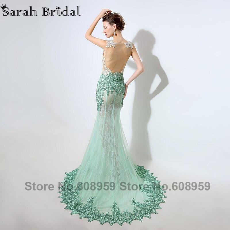 Menthe Dubai caftan sirène robes de soirée Sexy Illusion pure cristal perlé dentelle Appliques robe de bal réel échantillon LSX003 - 2