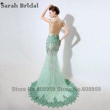 Mint Dubai Kaftan Mermaid Evening Dresses 2017 Sexy Illusion Sheer Crystal Beaded Lace Appliques Prom Dress Real Sample LSX003